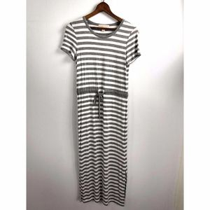 Micheal Kors T-Shirt Maxi Dress XS Gray Stripe